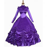 China Princess Dress Wholesale Satin Purple Custom Made Beauty and the Beast Princess Belle Purple Dress Cosplay for sale
