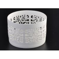 Quality Round Pure White Ceramic Candle Holders Heat Resisting ASTM Approve for sale