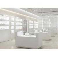 Quality Simple Wooden In Pure Matte White Jewelry Shop Decoration With Led Light for sale