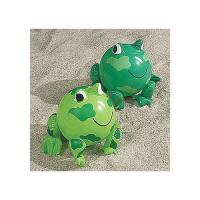 China PVC Green Frog Beach Toys Inflatable Animal Beach Balls 10 Overall Size Measures 14 on sale