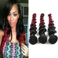 "Quality Natural Red Human Hair Extensions Ombre Remy Hair Weave 1B / 99J Loose Wave Hair 10""-30"" for sale"