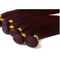 Buy Red Straight Colored Human Hair Extensions Remy Brazilian Hair Weave at wholesale prices