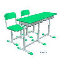 Quality Green Double Seater School Desk And Chair / Children 's Classroom Furniture for sale