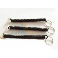Quality Tool Bungee Black Coiled Key Lanyard Retainer With White Round Sticker And Key Ring for sale