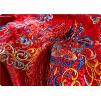 Quality High End Embroidered Fabrics , Red Chinese Wedding Dress Fabric for sale
