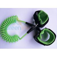 Quality Retractable Plastic Spring Baby Wrist Link With Straps Green 1.5M Stretched Length for sale