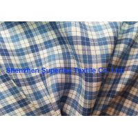 Quality Blue Twill Plaid Printed Silk Fabric In Yarn Dyed For Shirts And Dress Garment for sale