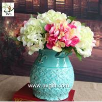 Quality UVG FHY24 wedding decoration materials cheap artificial hydrangea flower for indoor use for sale