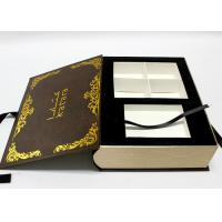 Quality Handmade Decorative Book Boxes , Luxury Book Shaped Gift Box With Ribbon for sale