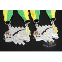Buy cheap Maration Racking Enamel Medals , Custom Sports Medals With Yellow Green Ribbon from wholesalers