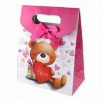 Quality Retail paper bag for candy packing with ribbon for sale