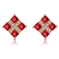 18k Gemstone Gold Jewelry Natural Ruby Stud Earrings With Real Diamonds
