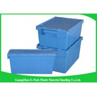 60L Plastic Attached Lid Containers Heavy Duty Stackable Moving 600 * 400 * 365mm
