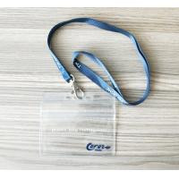 Quality Horizontal Name Badge Holders Kit Clear Plastic Name Tags With Woven Lanyards for sale