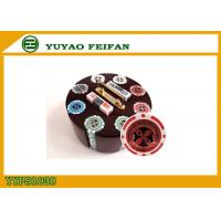 Quality Family Game 200 PCS Custom Poker Chip Set With Round Type Luxury Wooden Tray for sale