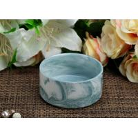 Quality Cyan Marbel Ceramic Tealight Candle Jars Round Shape Candle Holder for Party Decor for sale