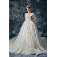 Quality 3D Pink Floral Applique Lace Long Sleeves Bridal Gown for sale