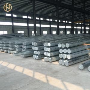 Quality 70FT 66KV 69kv Steel Utility Pole , Steel Transmission Pole Long Service Life for sale