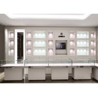 Quality Matte White Color Jewellery Display Cabinets With LED Lighting Decoration for sale