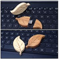 Quality Natural Retro Style of  Leaf  Wood USB Flash Drive High Speed USB 2.0 128MB - 64GB for sale