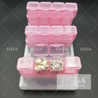 Quality 28 Grids Pink Diamond Painting Nail Bead Storage Box Containers for sale