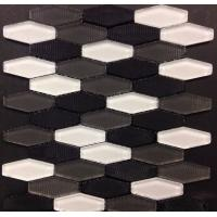 Quality Carbon Blend Hexagon Glass Mosaic Tile White Grey Black Mosaics Bush Hammered for sale