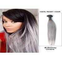 Quality Straight 1b / Gray Remy Human Hair Extensions Tangle Free No Shedding Full Cuticle for sale