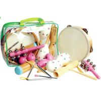 Quality Wooden Kids Musical Instrument , Seven Pieces Pink Hand Percussion Set for sale