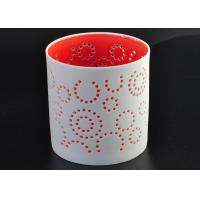 Quality Decorative Red Ceramic Candle Holder Spraying For Home Votive for sale