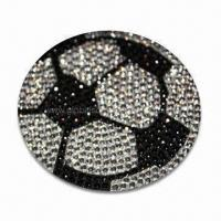 Quality Crystal Car Decal Sticker in Football Shape, OEM Orders are Welcome, Various Colors are Available for sale