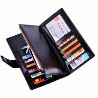 Quality Oil Wax Leather Black Clutch Bag With Multi Card Position , Thin Long Trifold Womens Wallet for sale