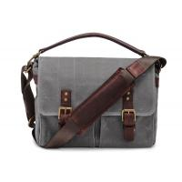 Quality Outdoor Canvas Crossbody Messenger Bag Grey , Casual Messenger Bags With Pockets for sale