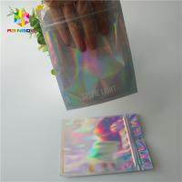Quality Hologram Zipper Customized Paper Bags Holographic Stand Up CMYK For Cosmetics for sale