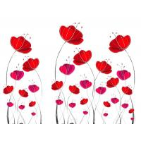 Quality Red Flowers Bamboo Fiber Decorative Wall Panel Sheets Environment Friendly for sale