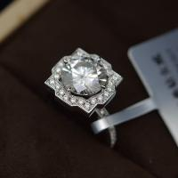 Buy cheap 2cts Moissanite Jewelry Ring Round Shape 8mm Size OEM / ODM Acceptable from wholesalers