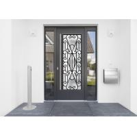 China 22*64 Inch Wrought Iron Security Doors Glass Agon Filled Shaped Wrought Iron Exterior Doors on sale