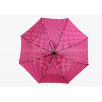 Beautiful Pink 3 Fold Automatic Umbrella , Large Elbow Curved Handle Umbrella