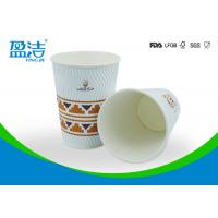 Quality OEM / ODM 12 OZ Disposable Coffee Cups With Black Or White PS Lid Available for sale