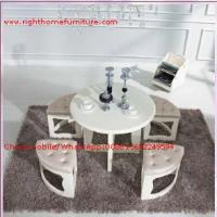 Quality White painting Circular Leisure time tea table and upholstery stool for sale