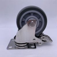 Quality Stainless Steel Fork PU Tread Locking Caster 75mm 100kg Load for sale