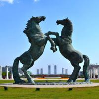 Buy Huge japanese green jumping bronze horse statue garden public at wholesale prices