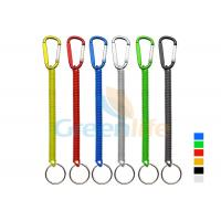 Quality Plastic Spiral Cord Wire Fishing Tool Holder With Colored Carabiner / Split Ring for sale