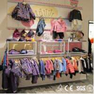 Quality good design garment wall display racks for shopping mall for sale