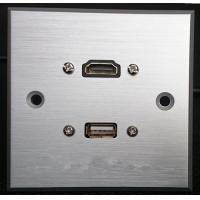 Quality HDMI & USB Aluminum Alloy Wall Plate , Electrical Wall Socket For Hotel / Home for sale