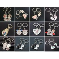 Quality 2pc metal keyring ,unique keyfob ,couples romatic keyring lover keychain    Fashion Love Heart Keyring Couple Keychain for sale