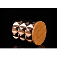 Quality Diamond Pattern Ceramic Candle Holder Electroplating Surface with Wooden Lid for sale