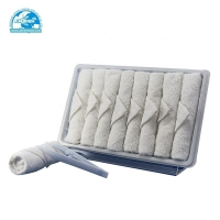Quality disposable cotton airline oshibori hot and cold towel for flight airplane for sale