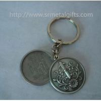 China Retro antique pewter religious theme coin holder keyrings, antique pewter coin keychains, on sale