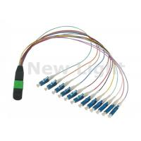 Quality Data Communication Network MPO / MTP TO LC Cable / 12 Core Fiber Optic Cable for sale