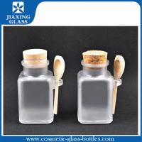 China Frosted 100ml Plastic Cosmetic Bath Salt Bottles With Wood Cork And Spoon on sale
